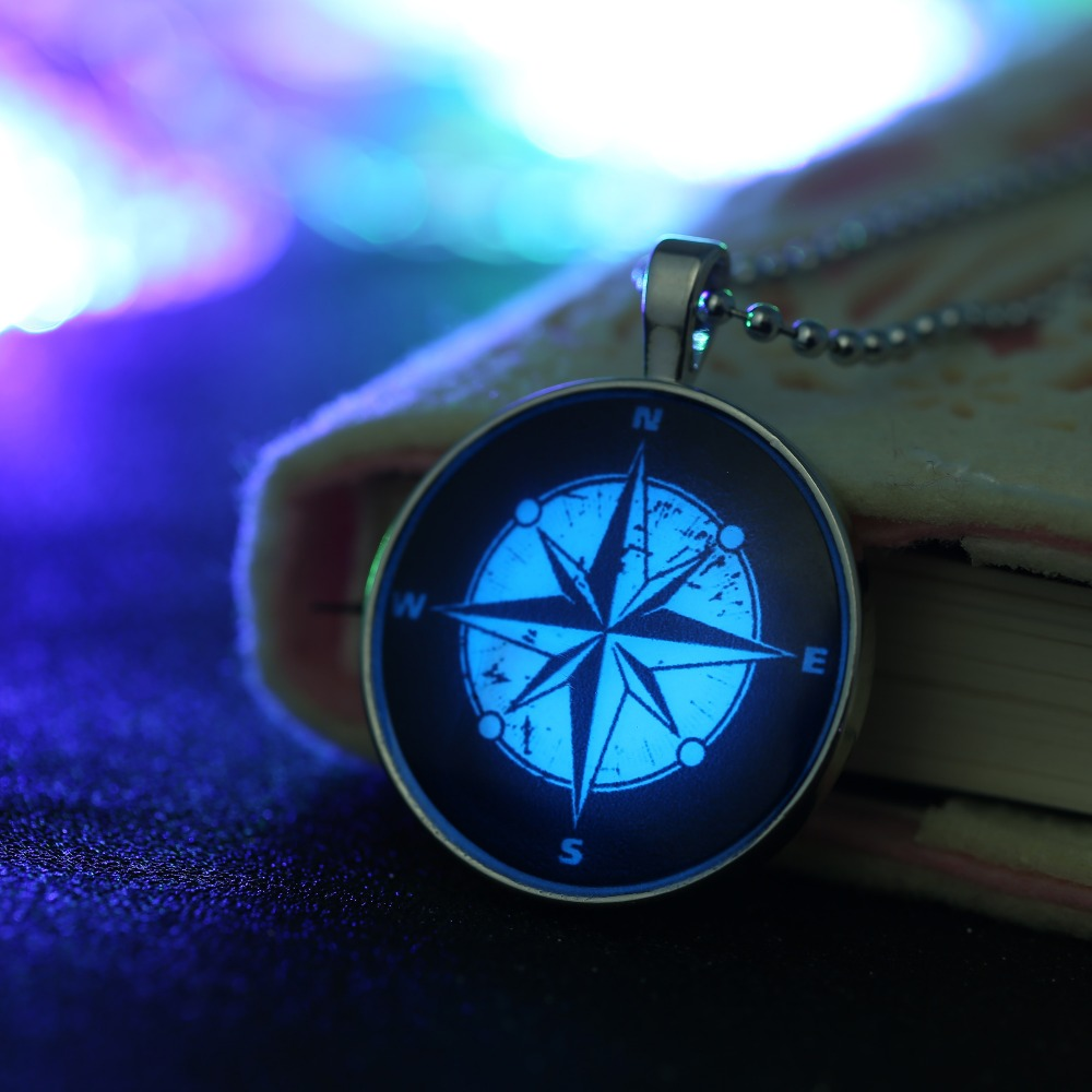 New Fashion Glowing Jewelry Compass Graphics Steampunk Fire Glow in the Dark Pendant font b Necklace