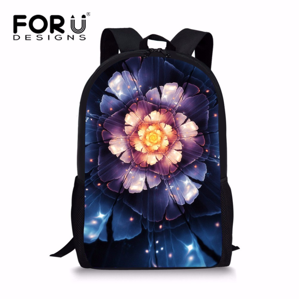 FORUDESIGNS Beautiful Floral Style School Bag for Yong Girls Colorful High School Kids Bookbag Light Schoolbag Polyester Fabric