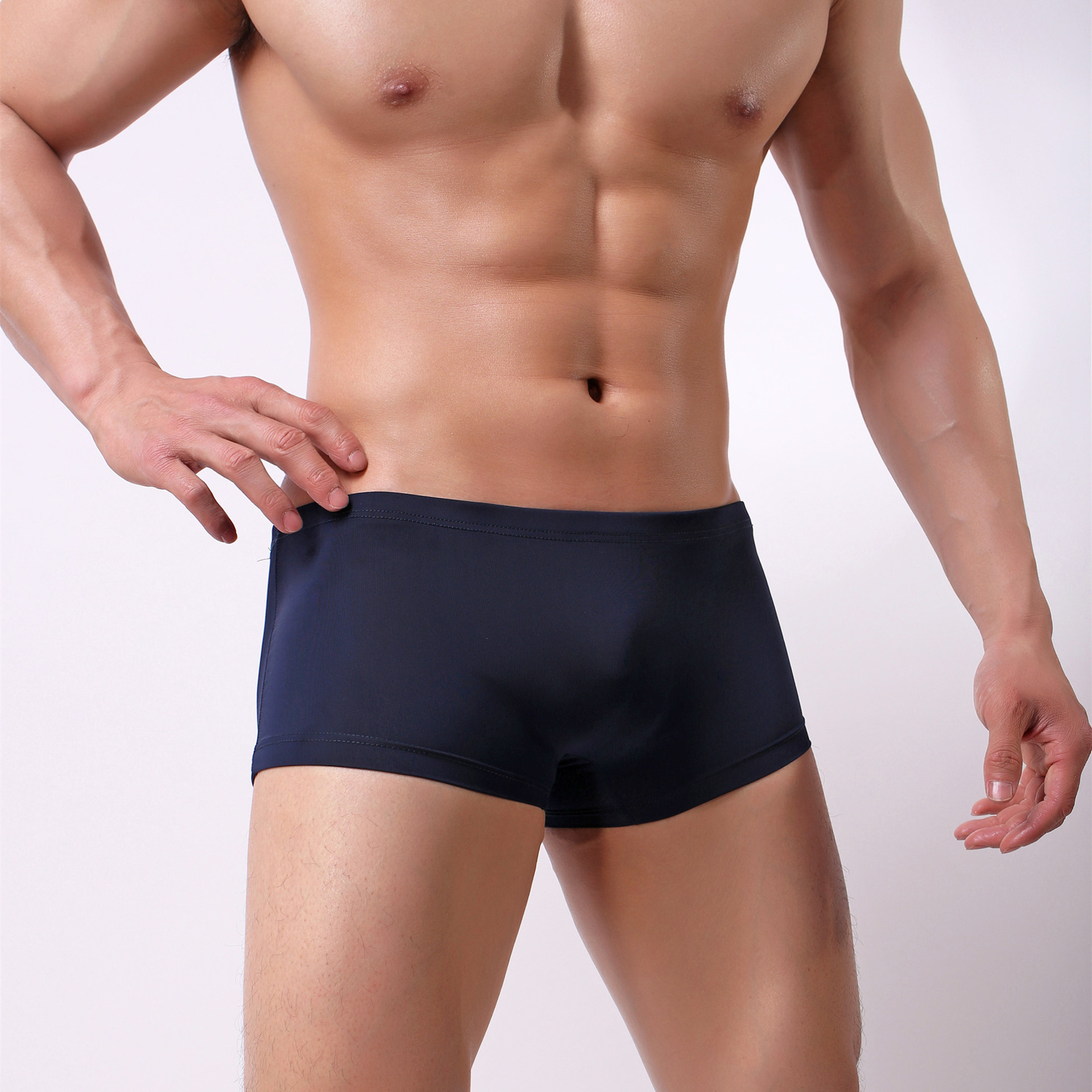 Men Summer Silky U Convex Men Pants Shorts Design Swimming Trunks Men Ice Silk Short