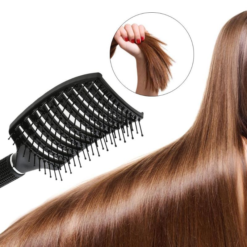 Image 2 - Professional Ribs Comb Hairbrush Big Bent Comb Women Wet Plastic Nylon Massage Hair Care Styling Hair Combs Hair Accessories-in Combs from Beauty & Health