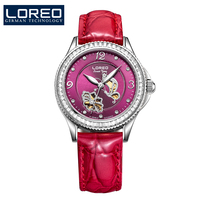 LOREO Diamond Butterfly automatic mechanical Pearl dial Leather belt diamond coated mirror fashion elegant lady watch
