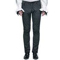 Punk Men Black Pants Gothic Jacquard Basic Trousers With Zipper Slim Fitting Straight Pants With Full