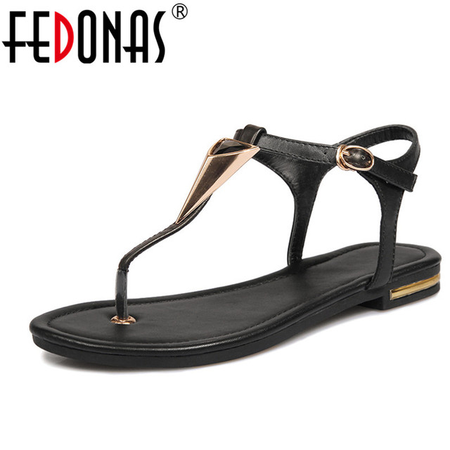 FEDONAS 2018 Summer Gladiator Sandals Women Flats Heels Genuine Leather  Party Wedding Shoes Glitter Ladies Summer Sandals 64606ce5f292