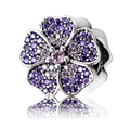 925 Sterling  silver charm with pink and purple cubic zirconia Beads for Original  Bracelet Pendant as Jewelry Gift