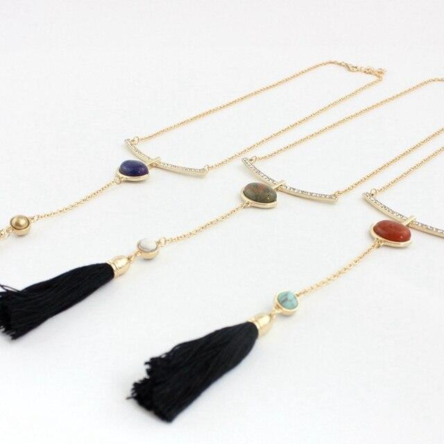 Chicvie черные ожерелья с кисточками и подвески золотого цвета
