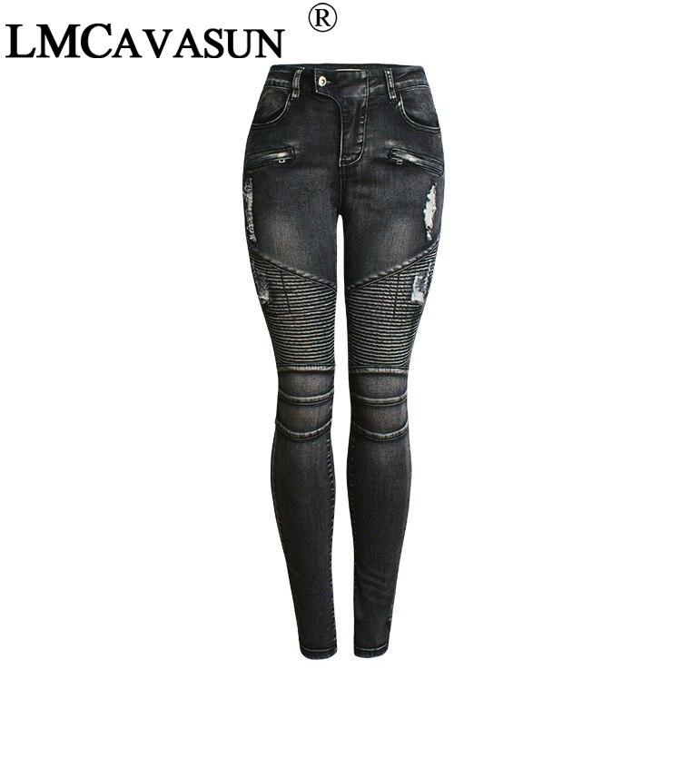 LMCAVASUN New Black Motorcycle Biker Zip Jeans Women`s Mid High Waist Stretch Denim Skinny Pants Motor Jeans For Women