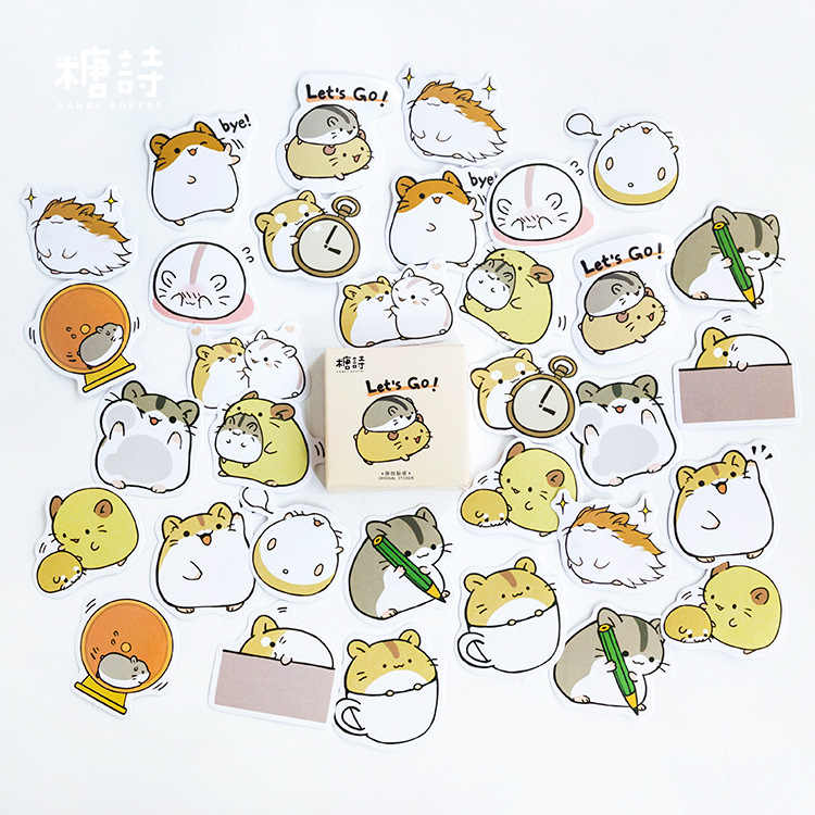 45pcs/pack Creative Cute Hamster Pet Paper Stickers Diary Decor DIY Scrapbooking Sticker