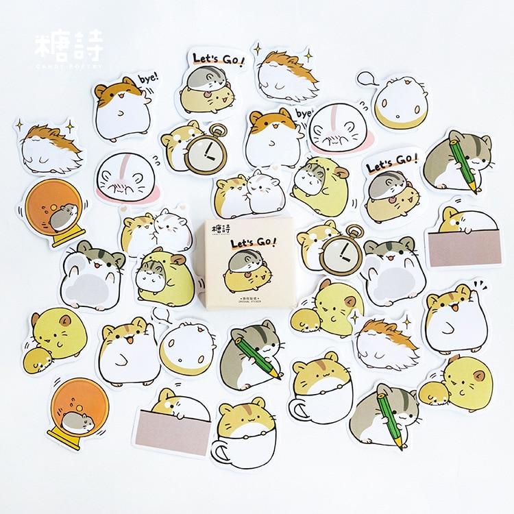 45pcs/pack Creative Cute Hamster Pet Paper Stickers Diary Decor DIY Scrapbooking Sticker