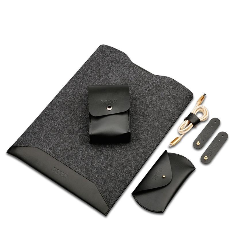 Модные кожаные ПУ мозаика Шерсть Войлок рукав для Macbook Pro retina Air 13,3 11 12 15 с Мышь сумка бобины намотки сумка для хранения