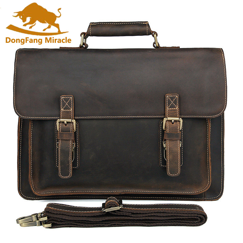 Men's briefcase genuine leather business handbag laptop casual large shoulder bag vintage messenger bags luxury bolsas купить в Москве 2019