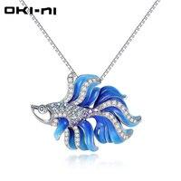 وتشارك OKI-NI هدية 925 فضة سلسلة المينا السمك مجوهرات قلائد هدية المرأة المختنق قلادة XLYJM-182