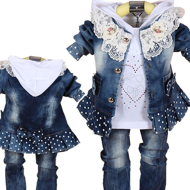 Baby Girls Suit 2017 Spring Casual Children's Clothing Sets Cowboy Jacket+T-shirt+Pants Kids Suit Sets Infant Baby Girl Clothes
