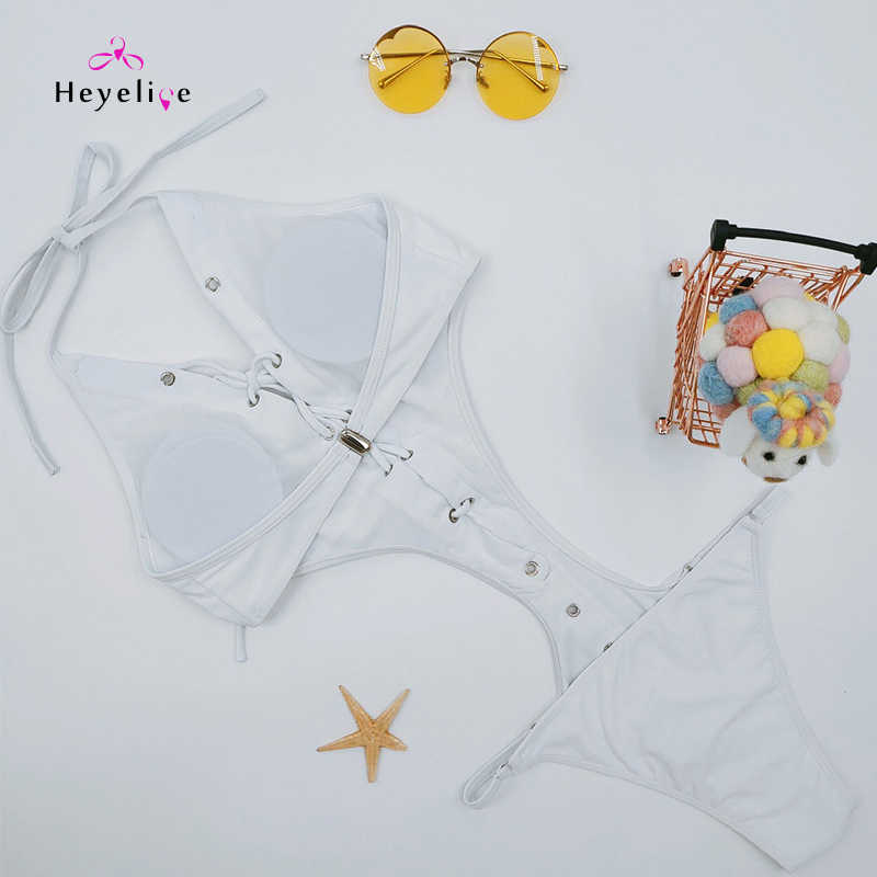 Монокини, сексуальная белая одежда для плавания, женские с высокой посадкой, 1 шт., купальные костюмы, бандаж, одежда для купания, пляжные купальные костюмы, новинка 2019, монокини