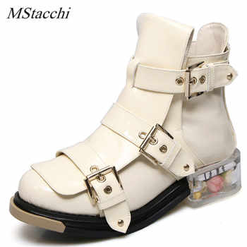 Mstacchi New Designer Flowers Clear Low Heel Ankle Boots Zip Buckle Motorcyle Boots Platform Genuine Leather Short Botas Mujer - DISCOUNT ITEM  45% OFF All Category