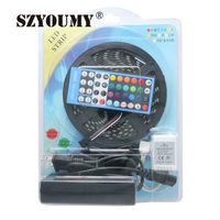 SZYOUMY 5050 Black PCB LED Strip Waterproof 5M 300LED DC12V RGBWW RGBW LED Light Strips Flexible Neon Tape+Remote and 5A Power