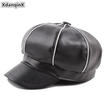 XdanqinX Elegant Fashion Womens Newsboy Caps Autumn Winter 2019 New Style Simple PU Berets For Women Snapback Female Hat