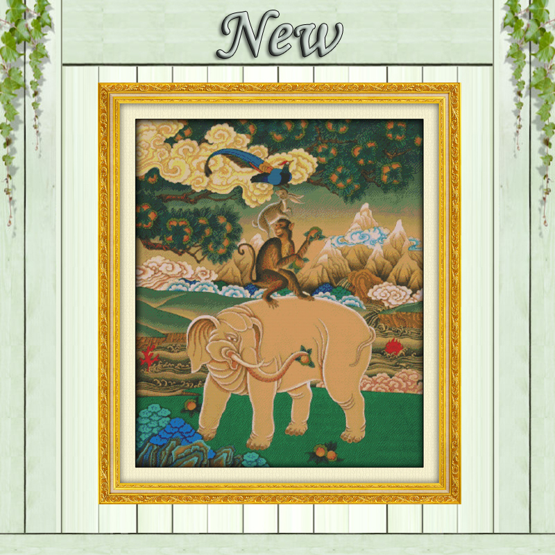 The four lucky animal picture Decor Counted Printed on canvas DMC 11CT 14CT Cross Stitch kits Sets embroidery Needlework mascots