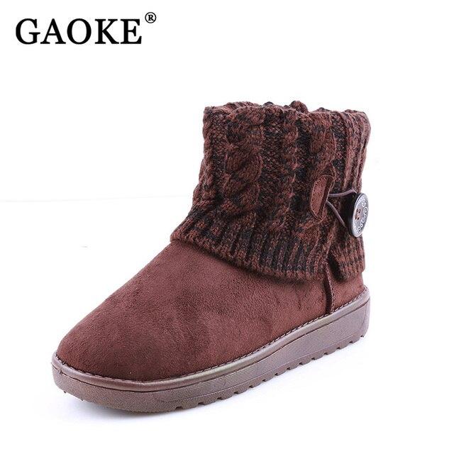 Зимние женские ботинки Замшевые сапоги обувь на плоской подошве с закругленным носком Ботильоны теплые Kinnted Платформа женские ботинки Mujer Bottes