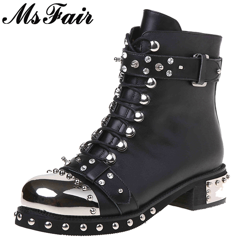 MSFAIR Round Toe Square heel Women Boot Rivet Crystal Mid Heel Ladies Ankle Boot Winter Short Plush Buckle Women Martin Boots fuji inverter fan mmf 09d24ts fba09a24h