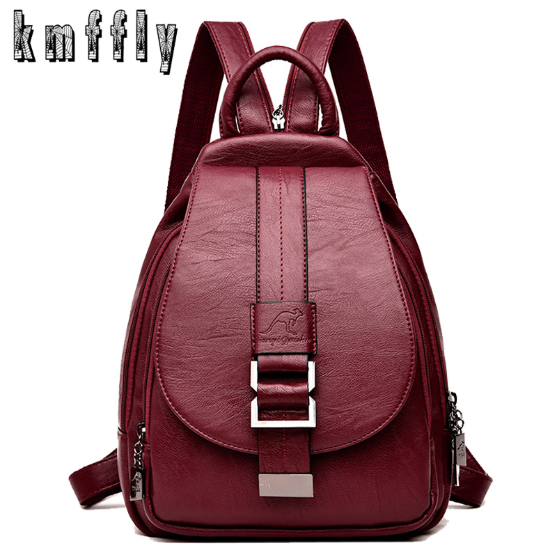 New 2018 Women Leather Backpacks Vintage Shoulder Bag Winter Female Backpack Ladies Travel Backpack Mochila School Bags For Girl(China)