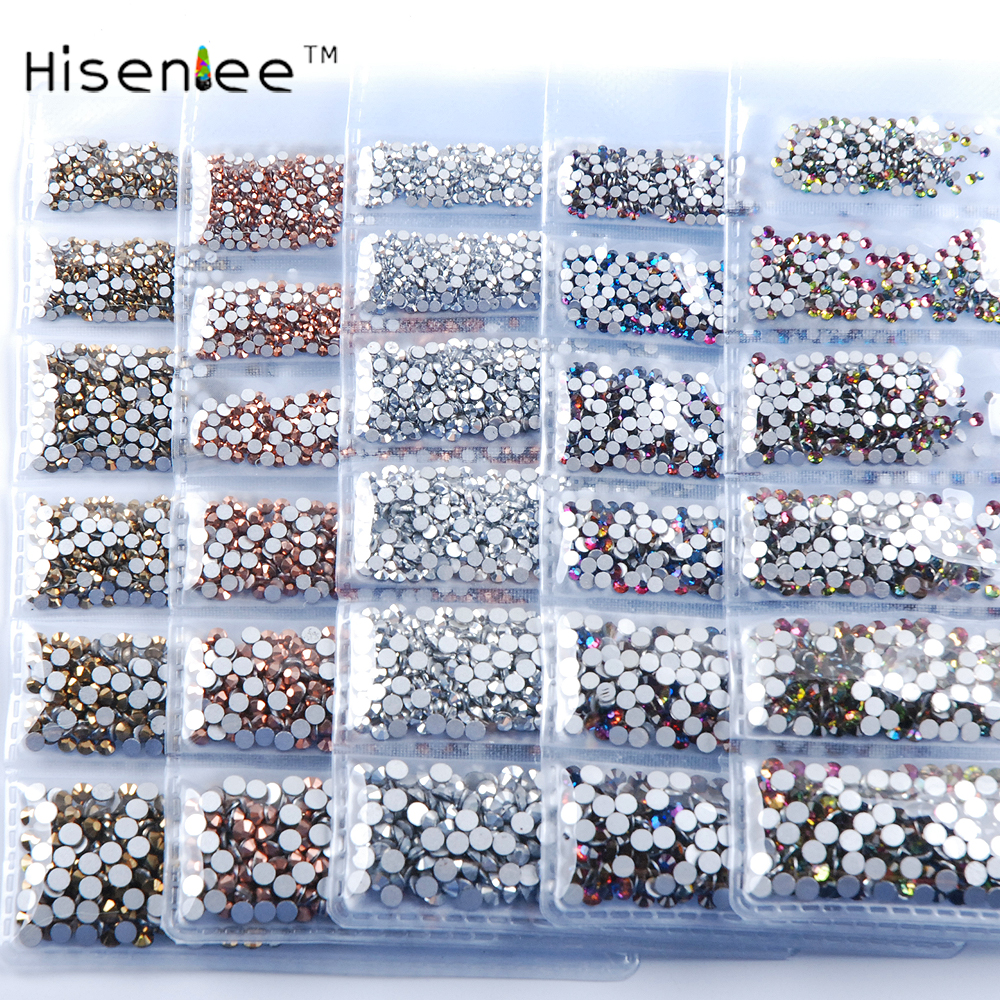 Hisenlee New Color  ss3-ss10 1728pcs Glitter Rhinestones 3D Nail Art Gems Nails Rhinestone Nail Supplies