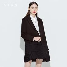 VING 2017 Autumn Jacket Female Black Pleated Skirt Stitching OL Style Long Shirt Casual Coat