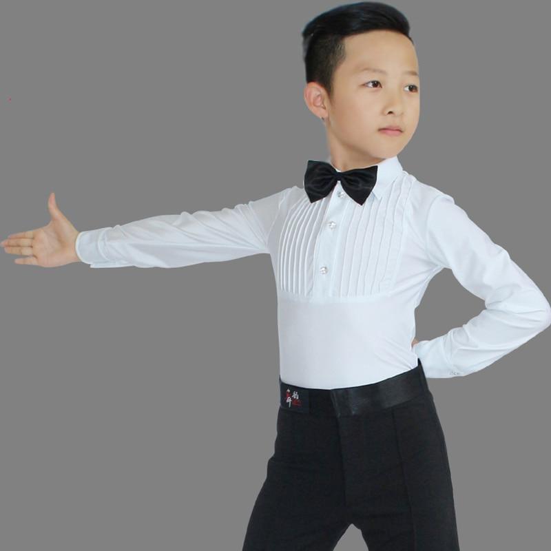 Children Boys New Ballroom Latin Dance Tops Professional Long Sleeves Diamond Practice Clothes Kids Cha Cha Dancing Tops DL4046