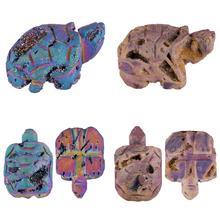 TUMBEELLUWA Titanium Coated Druzy Geode Onyx Turtle Tortoise Animal Carved, Crystal Healing Pocket Guardian Figurine Decor 1.8