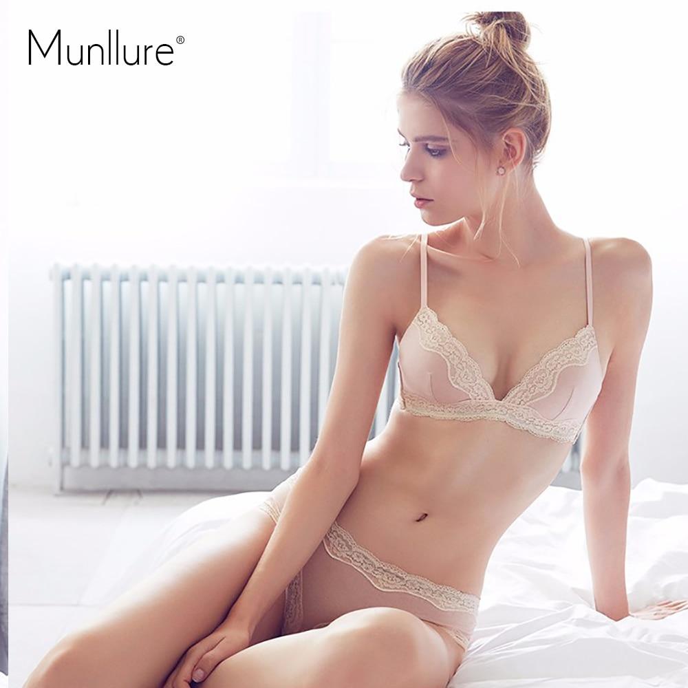 Munllure Underwear Series Solid Color Brief Thin Lace Cotton Bra Set Wireless Underwear Bra Set