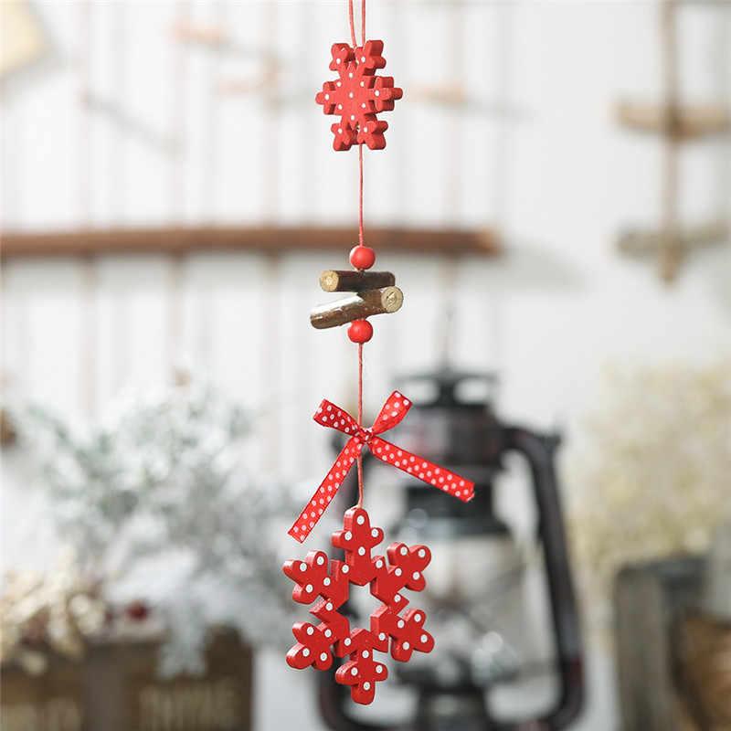 Adornos de Navidad de madera colgantes estrella de madera cono de pino árbol de Navidad adornos de gota decoración navideña de Navidad decoración para el hogar