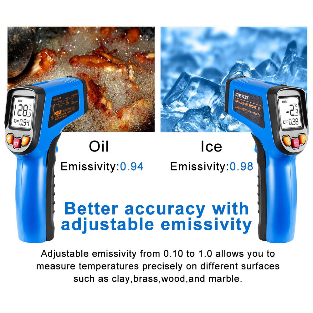 DEKO WD01 Non Contact Laser LCD Display IR Infrared Digital C F Selection Surface Temperature Thermometer DEKO WD01 Non-Contact Laser LCD Display IR Infrared Digital C/F Selection Surface Temperature Thermometer Pyrometer Imager