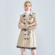 Classic Double-breasted Genuine Leather Jacket Women Long Trench Coat With Belt 2019 New Arrival Spring Natural Sheepskin Jacket