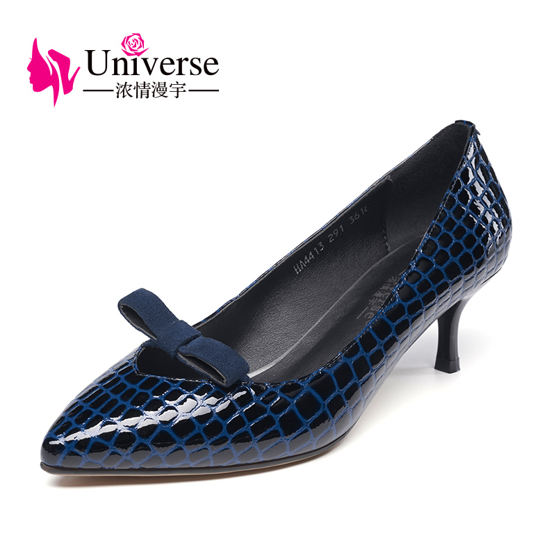 Universe 2017 Genuine Leather Women Shoes Spring Pointed Toe Thin Heel Pumps Bowknot  G001