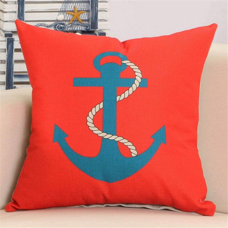 Linen Cotton Throw pillows Mediterranean Navy Blue Sea Anchor Ship Boat Stripe Pillows Cover Home Cushion Cover 45x45cm