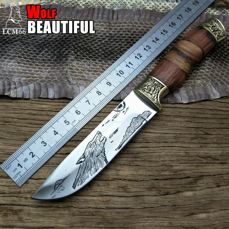 LCM66 Wolf pattern Tactical Small Fixed KnivesCopper head solid wood handle Survival KnifeCamping Rescue Knife Portable knife