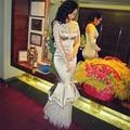 Lujo Rebordear Manga Larga Vestidos de Noche de Plata 2017 Perlas Apliques Mujeres Vestido Del Partido de La Sirena Vestido de Fiesta Abiye Gece Elbisesi