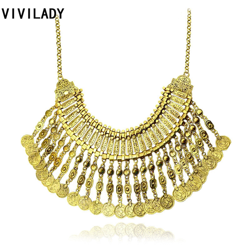 VIVILADY Vintage Coin Statement Necklace Women Heavy Bohemian Chokers Bib Tassel Collar Gypsy Retro Gold Color Accessory