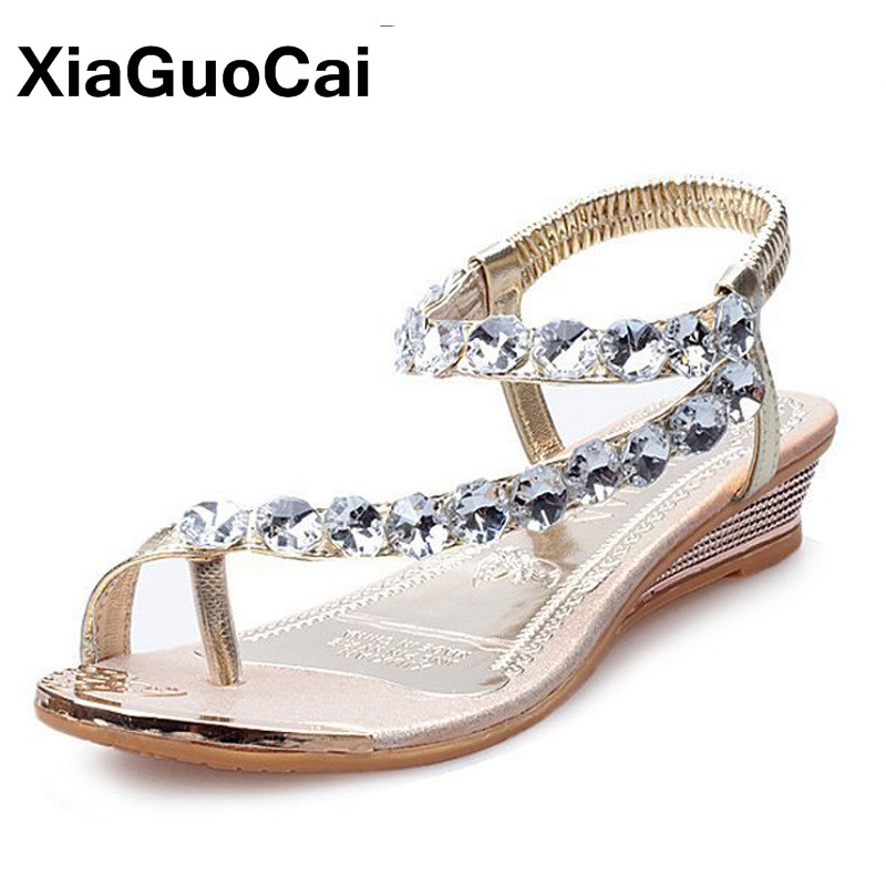 2018 Summer Women Sandals Rhinestone Wedges Platform Woman's Shoes Slip-On Fashion Comfortable Female Slides Height Increasing gktinoo 2018 summer gladiator sandals women rivet wedges fashion women shoes casual comfortable platform female sandal