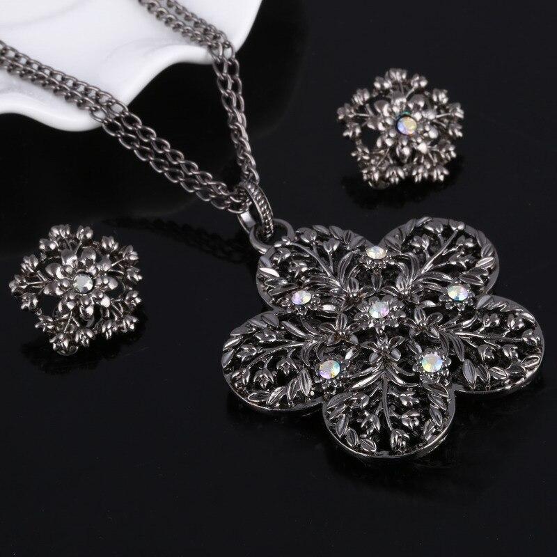 Heißer Verkauf Antient Silber Volle Kristall Blume Anhänger Halskette Ring 3 Teile/satz Frauen Hochzeit Schmuck-sets Ohrringe