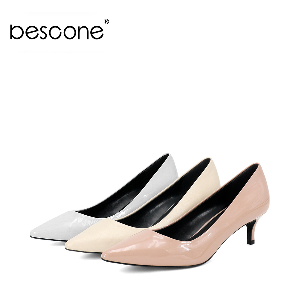 BESCONE Genuine Leather Female Pumps Thin Heel Working Party Lady Pumps Pointed Toe Fashion 5 5cm