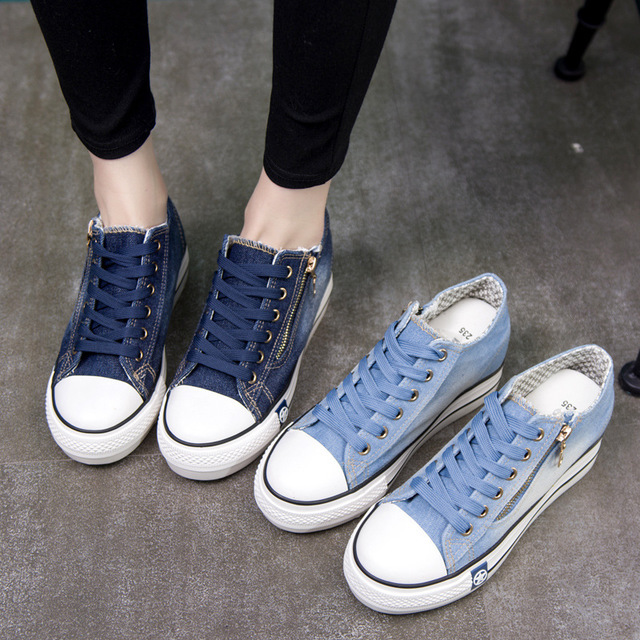 Ake Sia Classic Women Girl Fashion Casual Vintage Washed Denim Canvas Flat Platform Thicken Soled Lace-Up Plimsolls Shoes A155 1