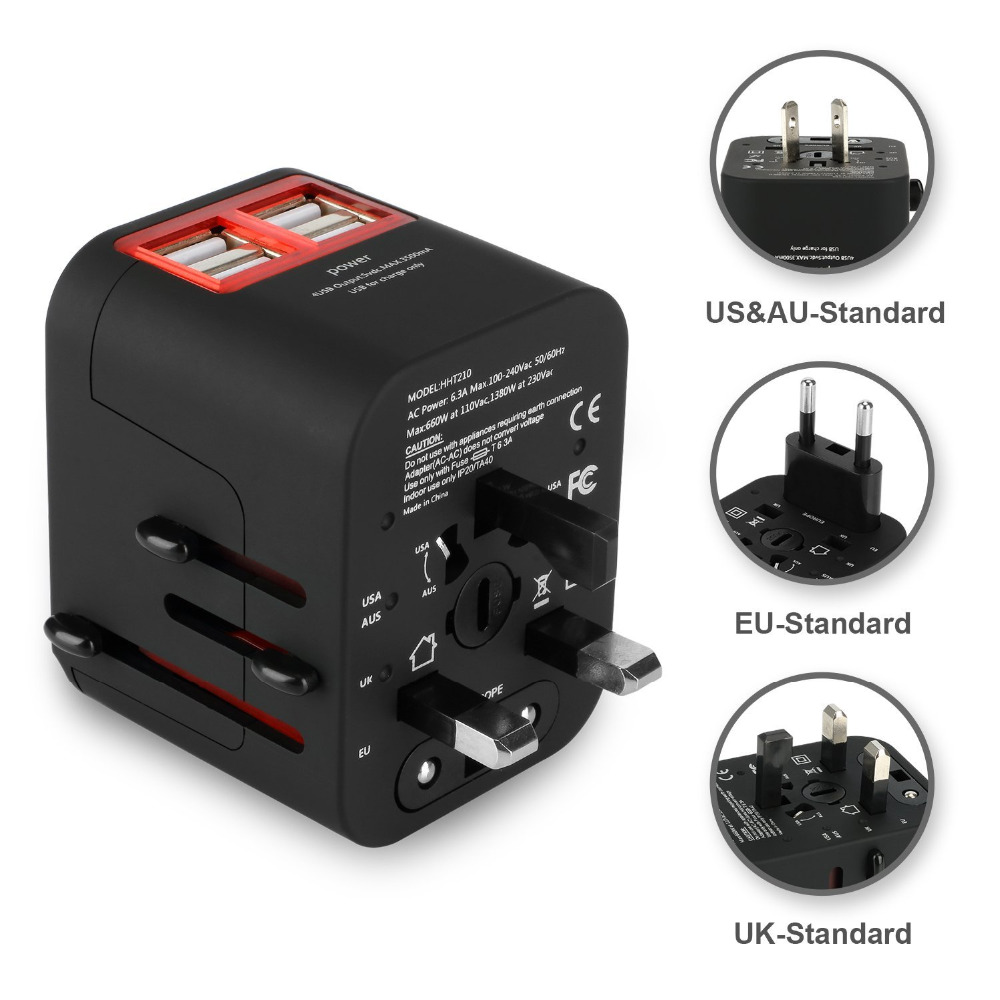 4 USB Travel Adapter International Universal Power Adapter All-in-one Worldwide Wall Charger for UK/EU/AU/Asia/USA Plug Adapter