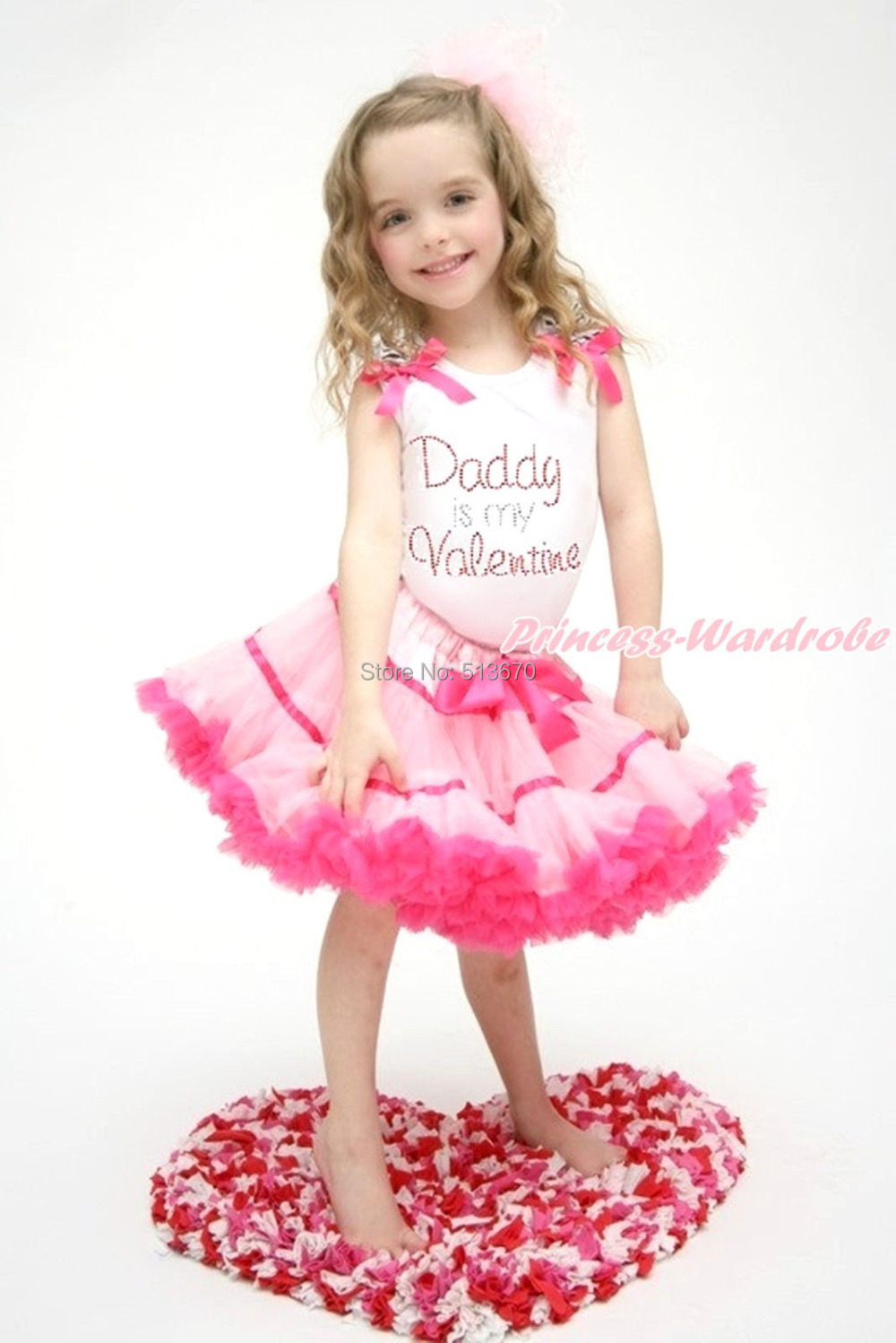 Rhinestone Daddy Is Valentine Print White Top Light Hot Pink Trim Skirt 1-8Year MAPSA0171 valentine daddy main squeeze white top pink floral girl skirt outfit set 1 8year