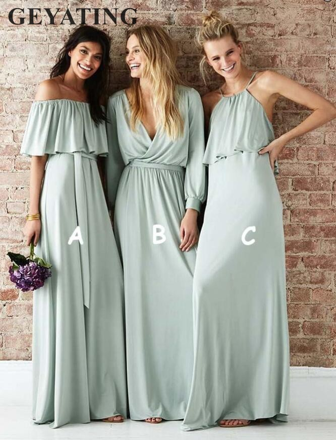 2019 Cheap Sage Long   Bridesmaid     Dresses   Mint Green Chiffon Boho Country Wedding Party   Dress   for Women Brides Maid of Honor Gowns