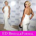 Rita Ora trompeta Cabestro Blanco Vestido de La Celebridad de Noche Formal Del Vestido de Gasa Largo Equipada Espalda Abierta Vestido de Fiesta