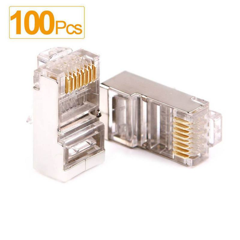 8P8C Cat5 RJ45 Crimp Connectors for Solid and Stranded Cable 100 Pieces