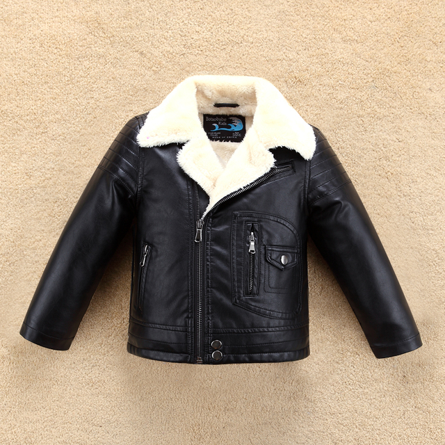 dcb8b68ee739 Turn Down Fur Collar Thick Boys Girls Leather Jacket for Winter ...