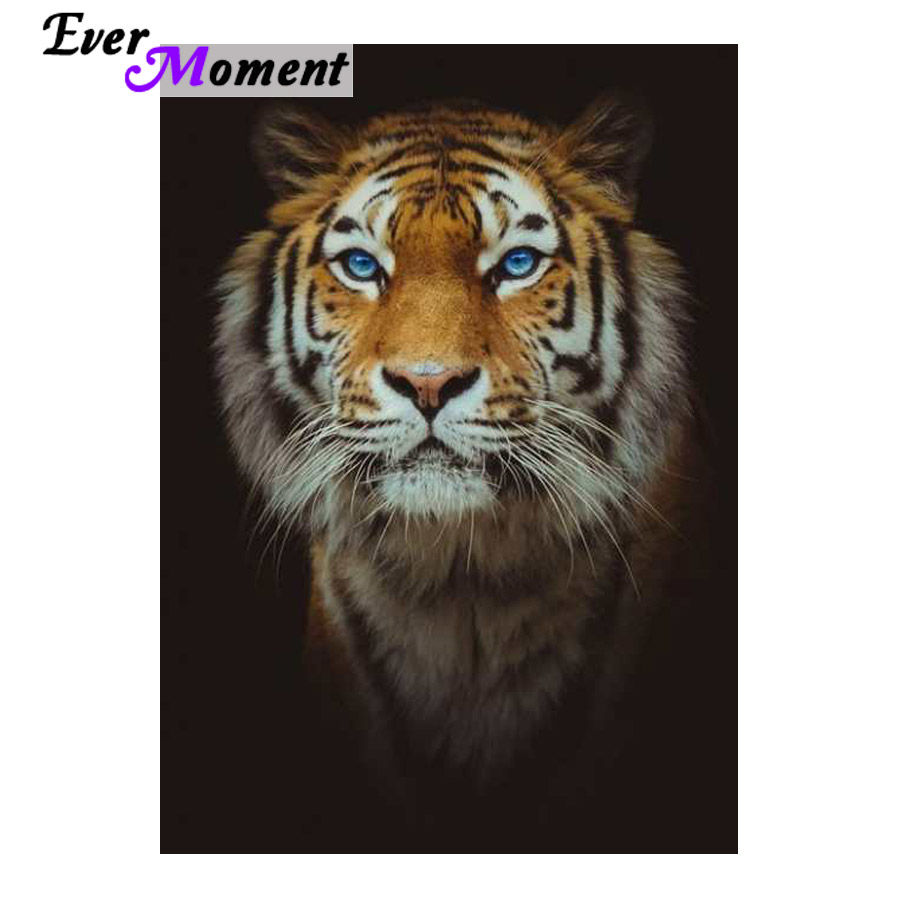 Ever Moment DIY Diamond Painting Cool Tiger with Blue Eyes Diamond Mosaic Paint Full Square Stones Animal Picture Decor ASF992Ever Moment DIY Diamond Painting Cool Tiger with Blue Eyes Diamond Mosaic Paint Full Square Stones Animal Picture Decor ASF992