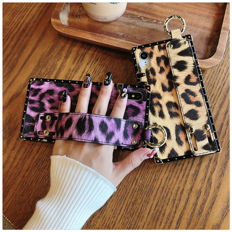 Luxury brand Square Leopard print rose flower case for iphone 7 8 6 6s plus girl women phone case for iphone X XS Max Xr cover (5)