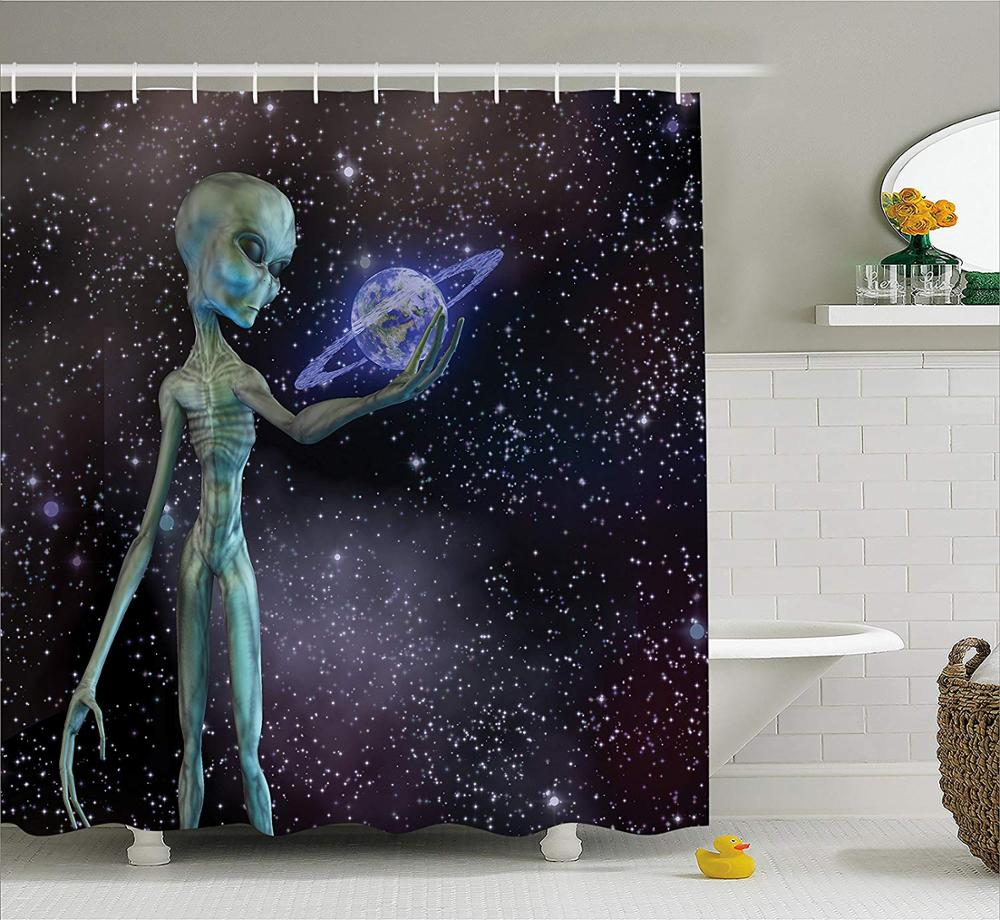 Outer Space Universe Milky Way Galaxy Stars Print Fabric Bath Shower Curtain Set